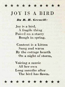 "Joy is a Bird,"" by R. H. Grenville 