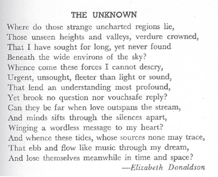 "Donaldson, Elizabeth. ""The Unknown."" Canadian Poetry Magazine 9.2 (1945): 27"