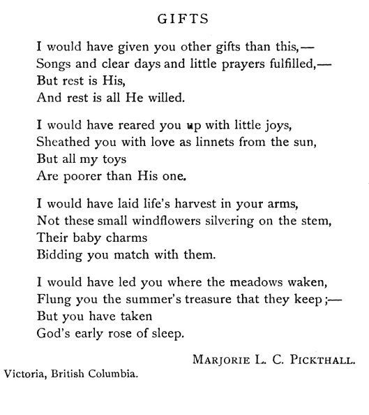 """Pickthall, Marjorie. """"Gifts."""" The Sewanee Review 29.3 (Jul. 1921): 359."""