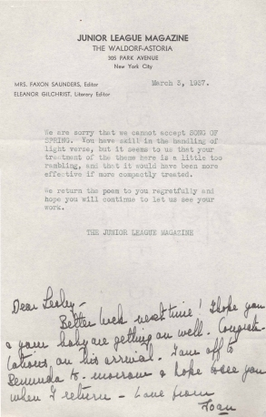 Junior League Magazine rejection letter