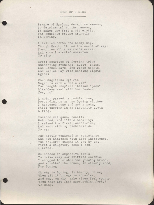 "The typewritten page for ""Song of Spring"""