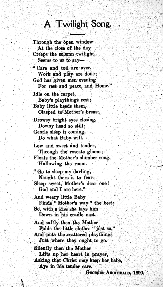 "Archibald, Georgie [Susan Georgina Archibald Elliston]. ""A Twilight Song."" 1890. Bed-Time Stories for my Grand-Children. by Edith J. Archibald. (Halifax, NS: s.n., 1910). Frontispiece."