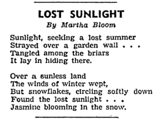 """""""The poems appearing today were written by members of the 'B' (junior) Section of the Vancouver Poetry Writers' Group which is affliated with the London Poetry Society."""" """"One dollar was paid for every poem on this page"""" Vancouver Sun 3 July 1943, page 2"""