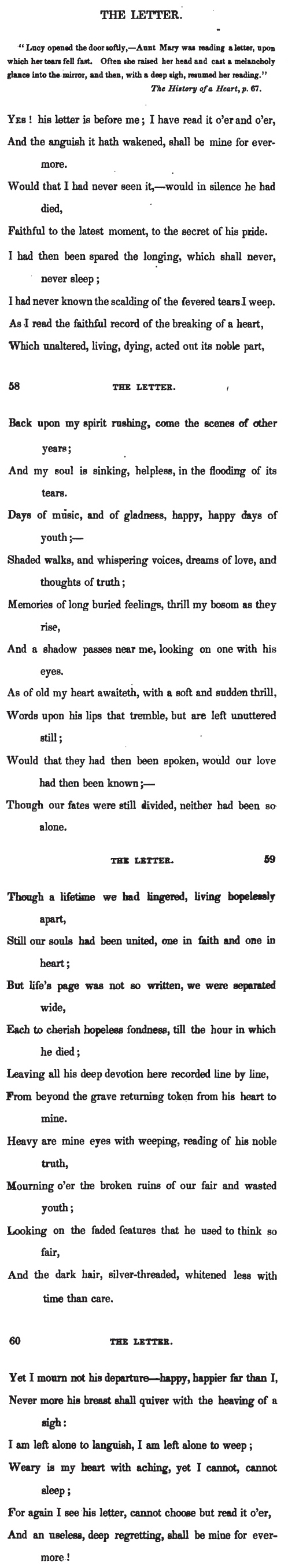 """Harriette."" [Harriet Annie ]. ""The Letter."" Rose Buds: or, Constantia and Other Poems. New York: Green & Spencer, 1849. 57-60."