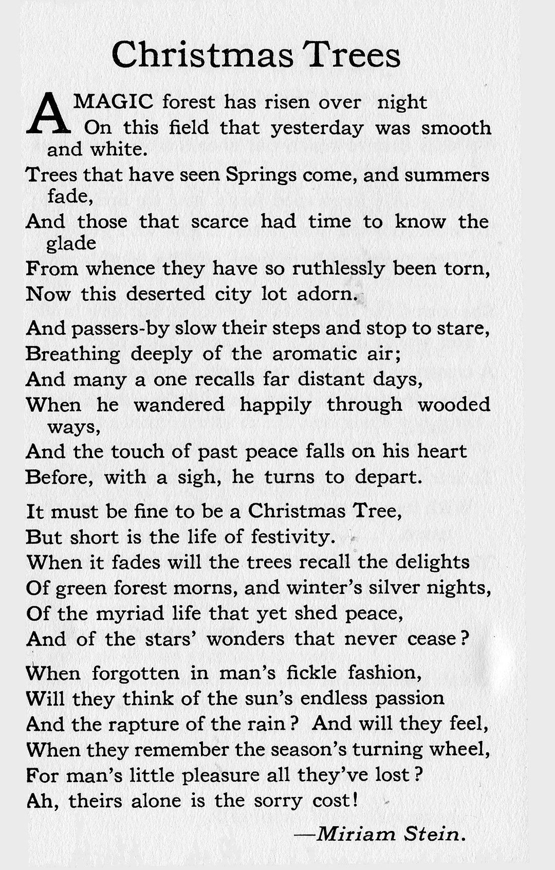 """Christmas Trees,"""" by Miriam Stein   Canada\'s Early Women Writers ..."""