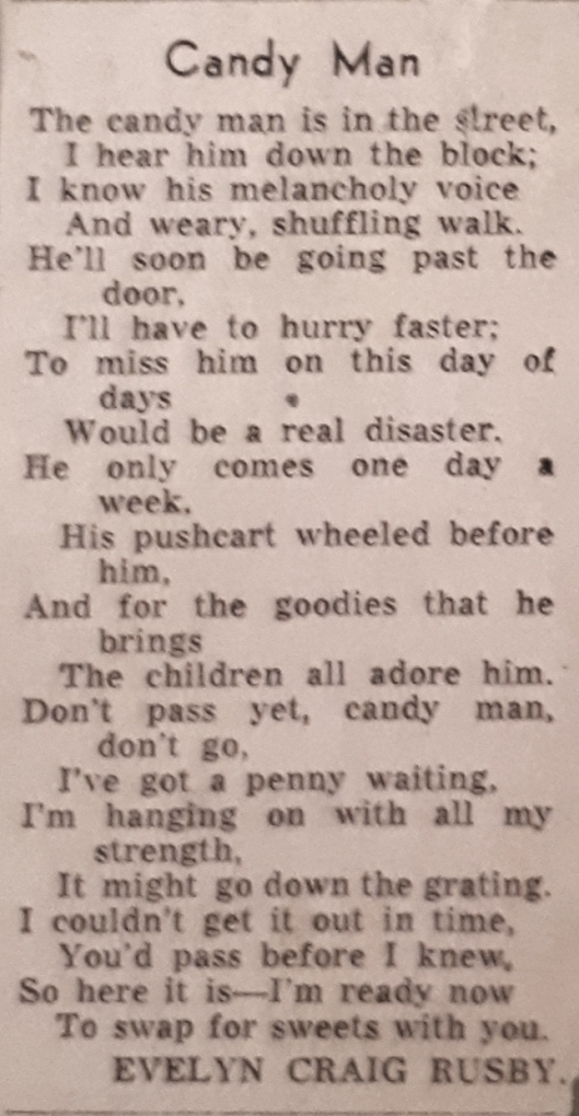Evelyn Craig Rusby The Candy Man poem